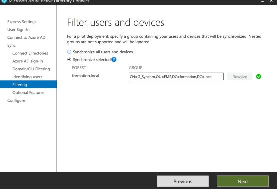 Filtering the synchronization and choose groups Pass-through Authentication