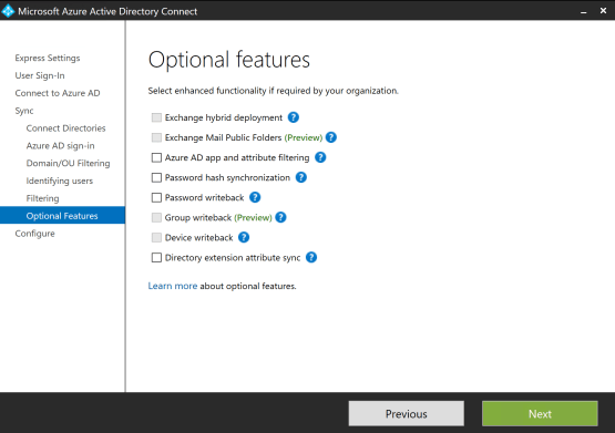 Choose features that you need install Pass-through Authentication