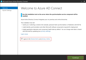 Accueil Wizard Azure AD Connect