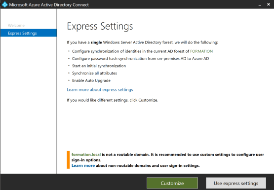 Cusomize option Azure AD Connect for Configure Pass-through Authentication