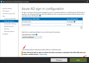 Vérify UPN into Azure AD and AD