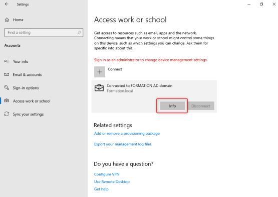 Select Info button