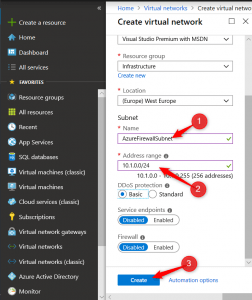 Configure Subnet on Virtual Network Azure