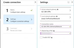 Enter Shared Key on Azure VPN