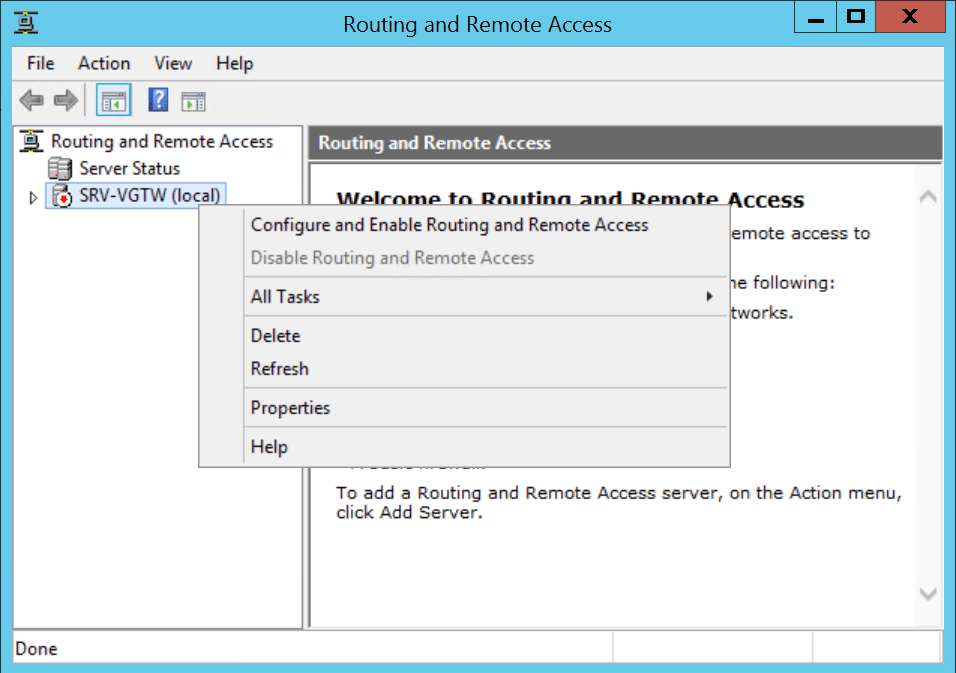 Configure Routing and Remote Access for vpn.
