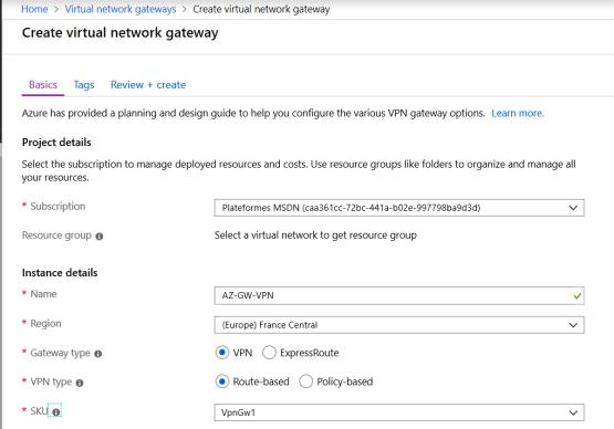 Create virtual network Gateway VPN