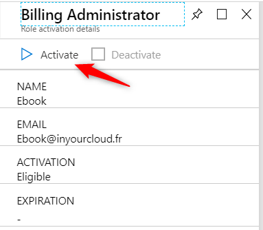 Activate billing administrator