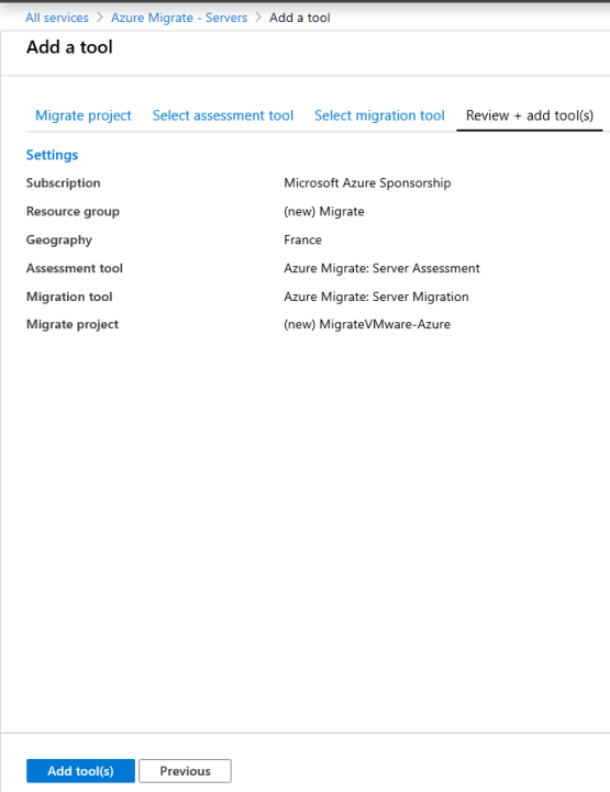 Azure Migrate - Lauch creation tools