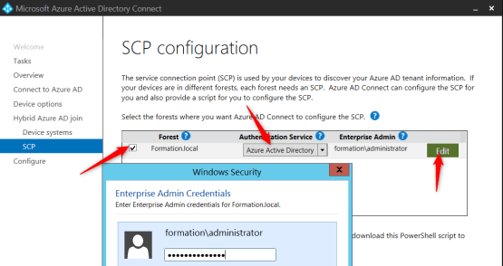 Enter credential for configure Hybrid Azure AD Join