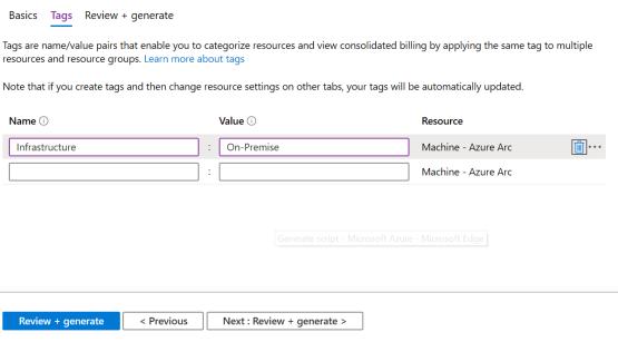 Generate script Azure Arc