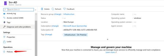 Properties added of Server added on Azure Arc