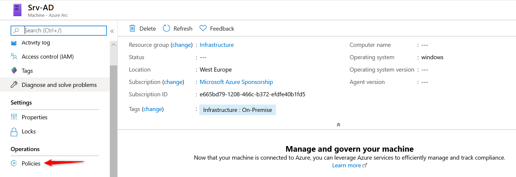 Properties added of Server added on Azure Arc