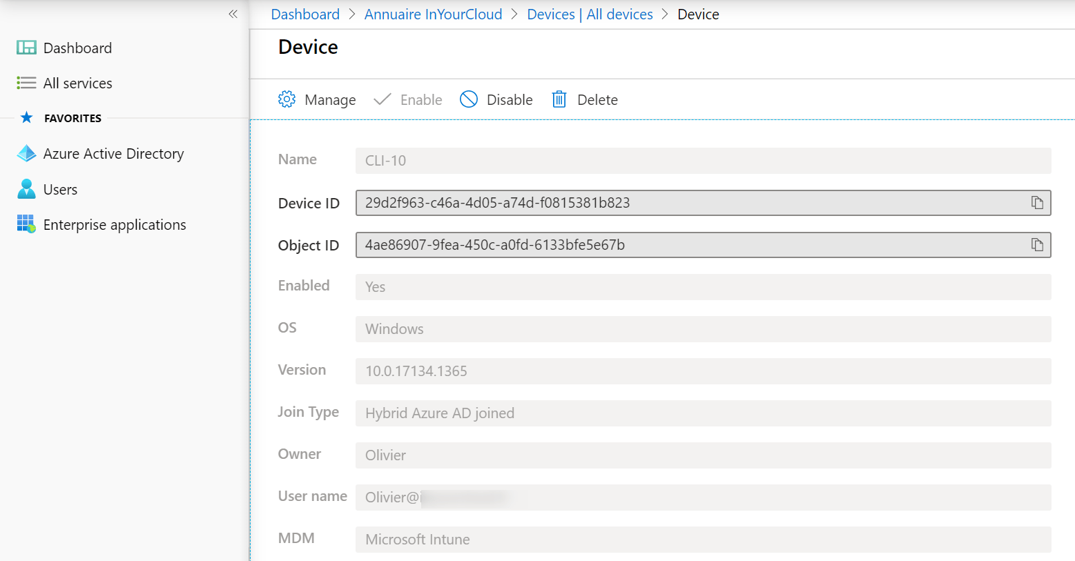 Intune users changed on azure ad