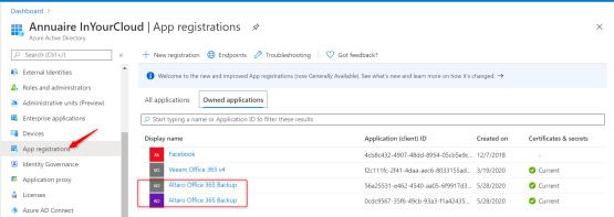 Backup O365 with Altaro - new application has been present on Azure A