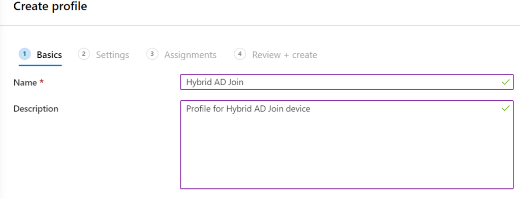 Create profile for Hybrid AD Join