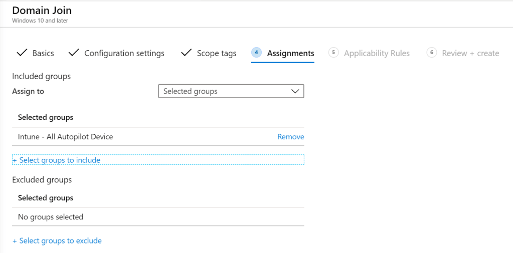 Assign Profile intune