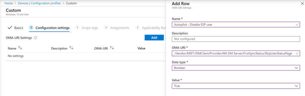Autopilot and Hybrid AD Join - Create OMA-URI profile