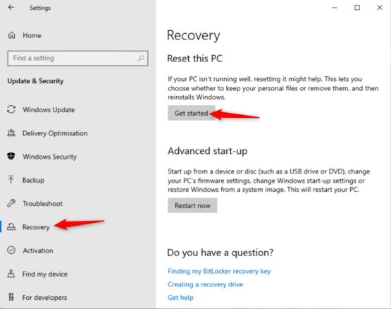Reset this PC option is used