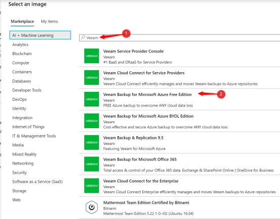 Veeam for Azure - Select Veeam Backup for Microsoft Azure