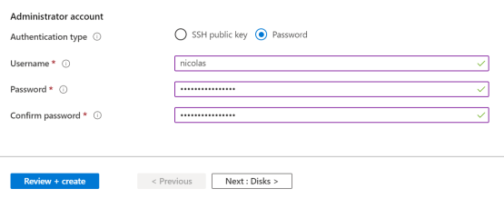 Veeam for Azure - Enter password and username