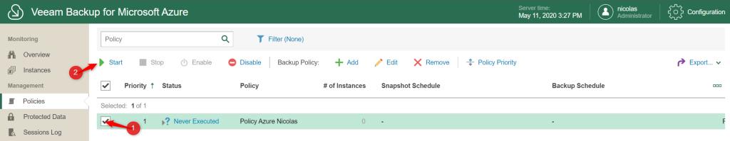 Select backup policies for start backup