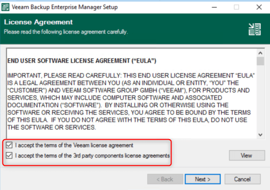 Enterprise Manager 10 - Accept the terms of the licence
