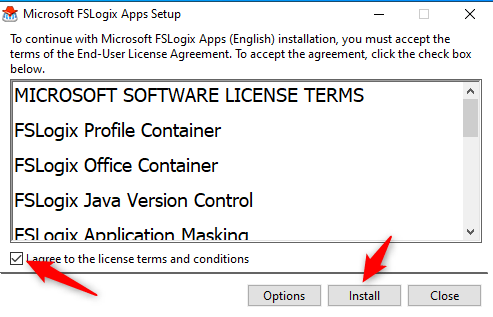 Virtual Desktop and FSLogix - Accept licence terms and install FSLogix