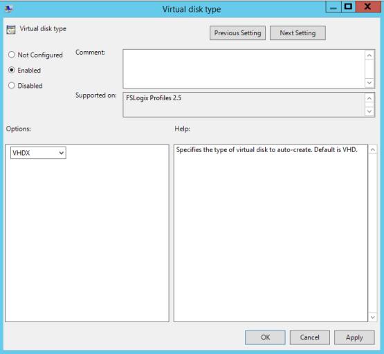 Select VHD type