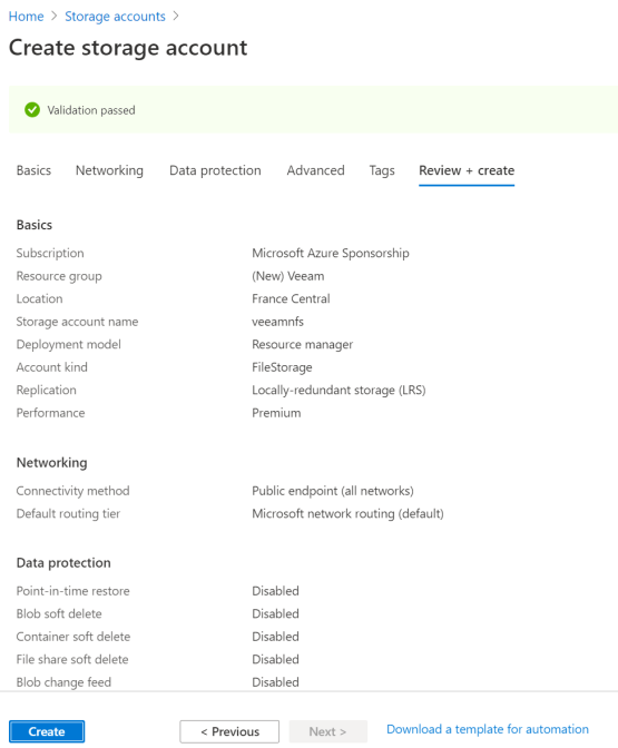 Azure NFS and Veeam - Create Storage Account on Azure