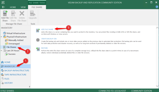 Add new share on Veeam Console