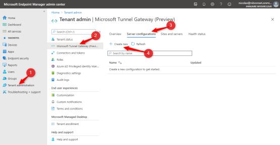 Create server on Microsoft Tunnel