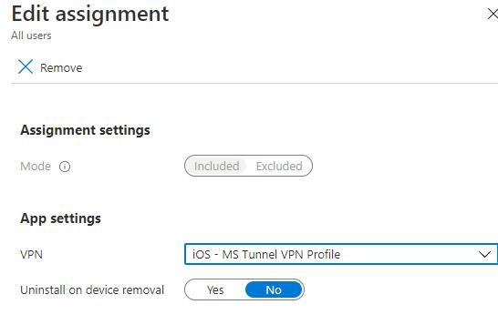 Assign VPN Profile