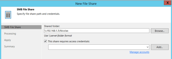 Backup Nas - Enter shared folder