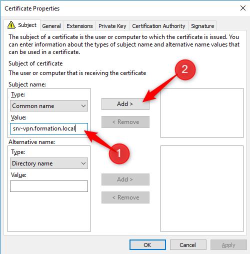 Add Internal address on server