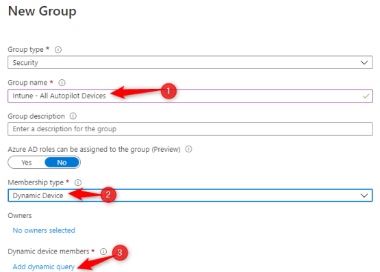 Configure groups dynamic
