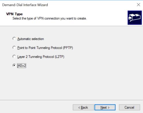 Select IKEv2 VPN Type
