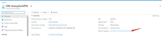 Virtual Network gateway address ip