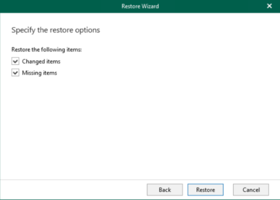 Specify restore options