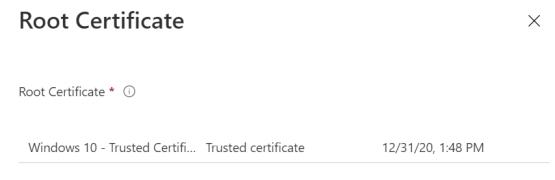 Select Root certificate