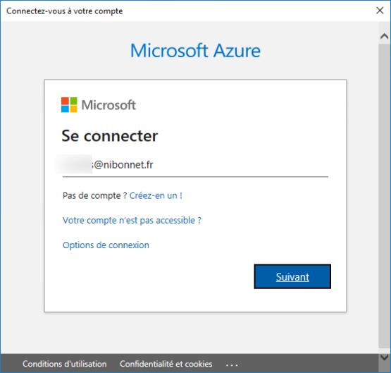 Enter azure AD credential
