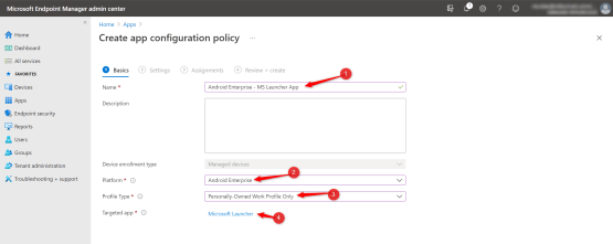 Create app configuration policy