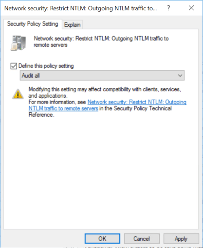 Configure  Network security: Restrict NTLM: Outgoing NTLM traffic to remote servers