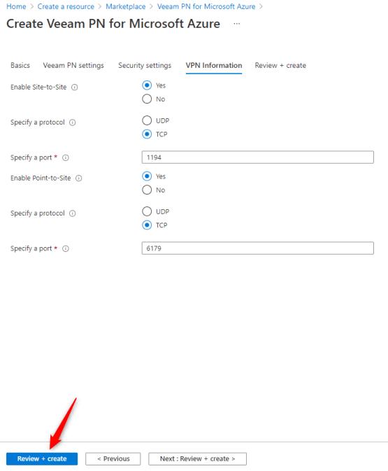 Configure VPN information