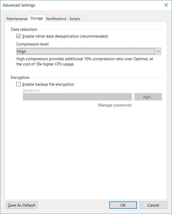Backup copy - Select compression level