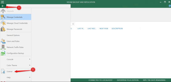 Veeam console for install licence Cloud Connect for Enterprise