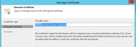 Enter the name of the certificate