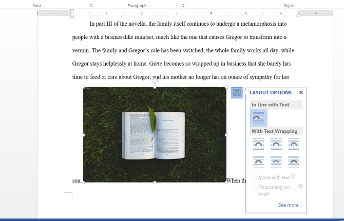 Menu d'habillage de texte Microsoft Word