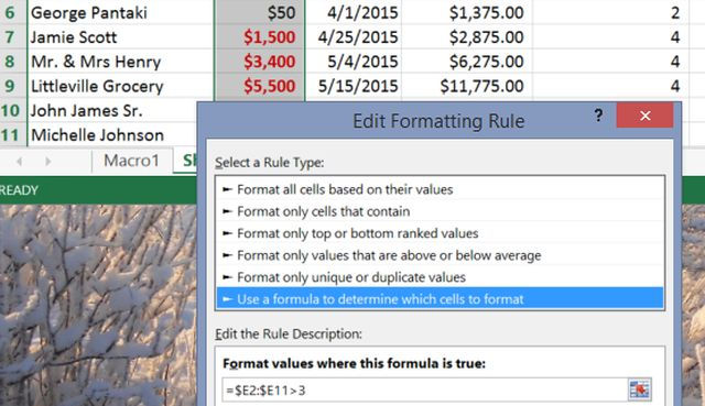 Formatage conditionnel Excel