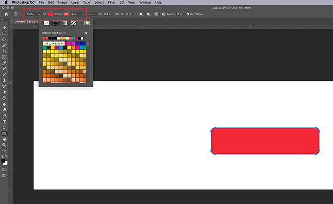 Changer la couleur du rectangle dans Photoshop