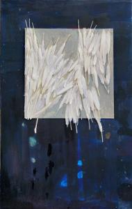 Constellation 1 -2017 - 82 x 52 cm slash 32 x 20 inches - acrylic, cardboard and feathers on cotton canvas